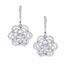Ladies Diamond Flower Drop Earrings 2.9ct 14k Gold Unique Design
