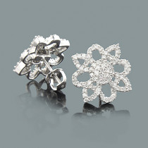 Ladies Diamond Flower Earrings 0.49ct 14K Gold