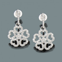 Ladies Diamond Heart Flower Earrings 0.54ct 14K Gold