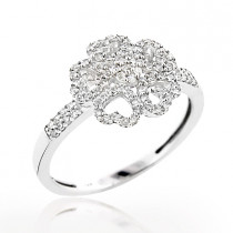 Ladies Diamond Heart Ring 0.36ct 14K Flower Jewelry