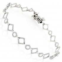 Ladies Diamond Link Bracelet in 14K Gold 0.7ct