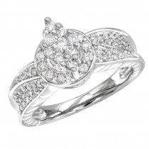 Ladies Diamond Rings 14K Cluster Diamond Ring 0.75ct