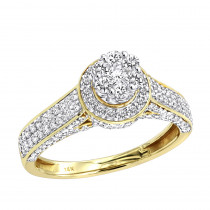 Affordable Cluster Diamond Engagement Ring for Women w Halo 0.9ct 14k Gold