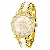 Ladies Diamond Watches Yellow Gold Pld Steel & White Ceramic Watch Pink MOP
