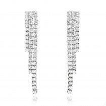 Ladies Earrings 14K Gold String Diamond Earrings 3.78ct