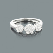 Ladies Flower Rings: Round Diamond Cluster Ring 0.62ct 14K Gold