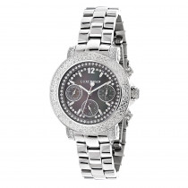 Ladies Genuine Diamond Watch by LUXURMAN 0.3ct Black MOP