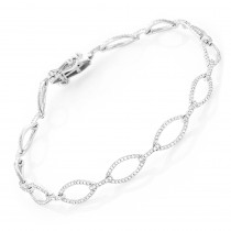 Ladies Oval Link DIamond Bracelet 0.65ct 14K Gold