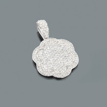 Ladies Pave Diamond Flower Pendant 0.66ct 14K Gold