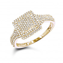 Ladies Pave Diamond Ring 14K Gold 0.4ct