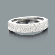 Thin Ladies Pave Diamond Wedding Band 0.54ct 14K Gold