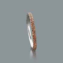 Ultra Thin Ladies Red Diamond Ring 0.34ct 14K Stackable