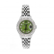 Ladies Rolex Datejust Diamond Bezel Watch Green MOP Dial 1.5ct