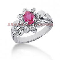 Ladies Ruby and Diamond Flower Ring 14K 0.20ctd 0.75ctr
