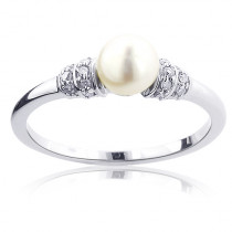 Ladies Sterling Silver Diamond Pearl Ring 0.1ct
