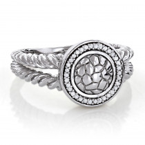 Ladies Sterling Silver Diamond Ring 0.13ct