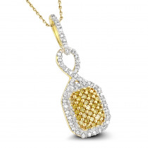 Ladies White Yellow Diamond Pendant 0.27ct 14K Gold