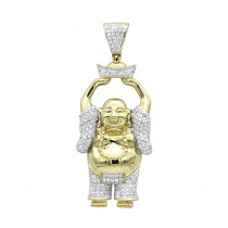 Large 1 Carat Solid 10k Gold Smiling Diamond Buddha Pendant For Men