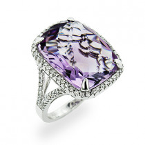 Large 14K Gold Amethyst Cocktail Ring with Diamonds 0.5ct
