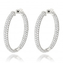 Large 14K Gold Inside Out Diamond Hoop Earrings 4.6ct