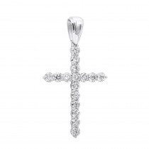 Large 2 Inches Long Diamond Cross Pendant for Men and Women 14K Gold 5 Carats