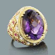 Large Amethyst Cocktail Ring with Diamonds and Pink Sapphires 18K Gold