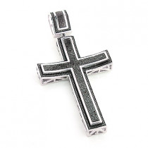 Large Black Diamond Cross Pendant in Sterling Silver 1.2ct