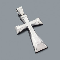 Large Crosses: Mens Diamond Cross Pendant 1.52ct Silver