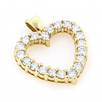 Large Diamond Heart Necklace 14K 3.0ct