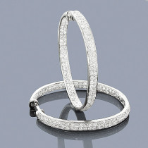 Large Hoops 14K Inside Out Diamond Hoop Earrings 3.47