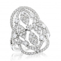 Large Rings: Luxurman Right Hand Diamond Ring for Women 2 carats 14K Gold
