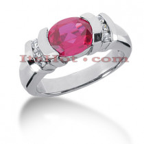 Large Ruby Rings: Ladies Diamond Ring 14K 0.18ctd 3ctr