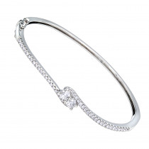 Love and Friendship Womens Diamond Bangle Bracelet 14k Gold 1.1ct Luxurman