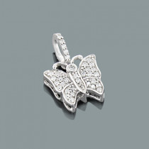 Lovely Genuine Diamond Butterfly Pendant for Women in Real 10K Gold 0.15ct