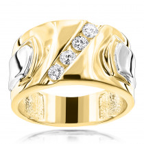 Luccello Brand 18K Gold Mens Designer Diamond Ring G VS 0.5ct