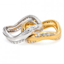 Thin LUCCELLO Designer Diamond Ring Set 0.34ct 18K Gold Wedding Bands