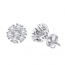Luxurman 1 1/2ct Diamond Flower Cluster Earrings Studs in 14k Gold