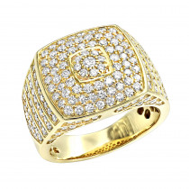Luxurman 14k Gold Mens Diamond Ring Square Shape 2.5ct Pinky Ring