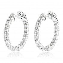 Luxurman 14K Gold Two Carat Inside Out Diamond Hoop Earrings for Women