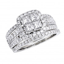 Luxurman Bridal Sets 14k Gold Princess Cut Diamond Engagement Ring & Band 2.33ct