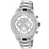 Luxurman Diamond Mens Watch 0.5ct White Gold Plated Swiss Mvt