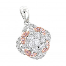 Luxurman Flower Cluster White & Pink Diamond Pendant for Women in 14K Gold