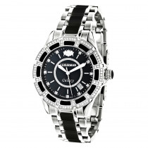 Luxurman Galaxy Midsize Diamond Watch Black Ceramic 1.25ct
