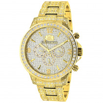 Luxurman Iced Out Mens Diamond Watch 3ct Yellow Gold Plated Liberty