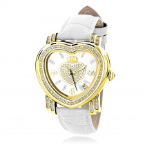 Luxurman Ladies Heart Diamond Watch 0.30ct Yellow