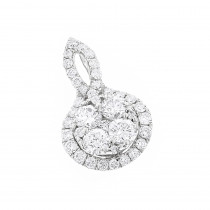 Luxurman Ladies Round  Diamond Drop Circle Pendant 1 Carat 14K Gold