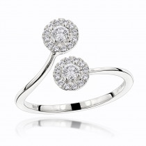 Luxurman Love & Friendship Rings: 14K Gold 2 Stone Diamond Halo Ring 0.33ct