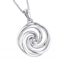 Luxurman Love Quotes: Delicate Sterling Silver Womens Diamond Swirl Pendant