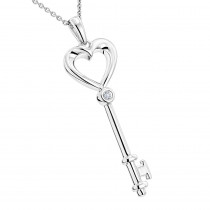 Luxurman Love Quotes Necklace Sterling Silver Diamond Key Pendant for Women