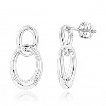 Luxurman Love Quotes: Silver Interlocking Ovals Diamond Earrings for Women